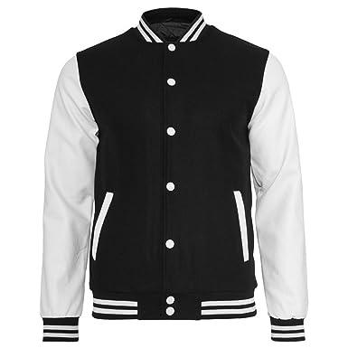 URBAN CLASSICS Oldschool College Jacket, black/white, Gr. S