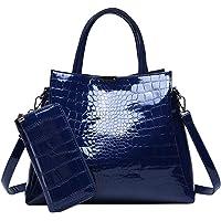 حقيبة يد نسائية عصرية، حقيبة يد مكونة من قطعتين بلون أزرق داكن