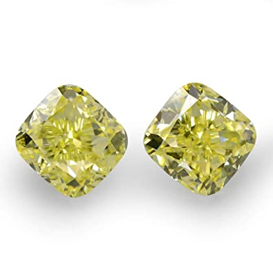 Amazon Com 1 18cts Fancy Yellow Loose Diamond Natural Color Cushion