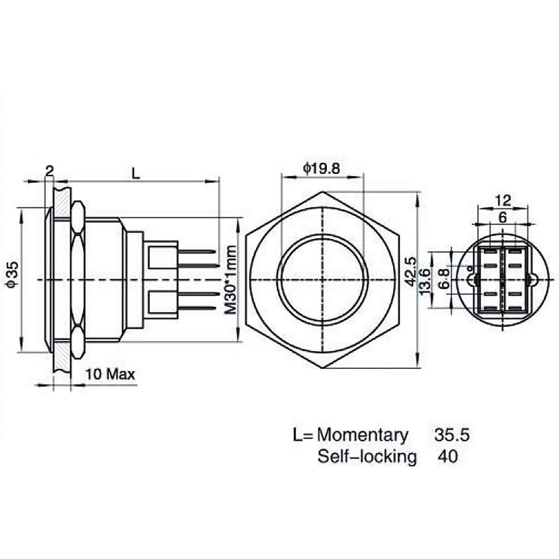 Andux Zone Commutateur /à bouton-poussoir en m/étal 12V de commutateur momentan/é T/ête plate JSANKG-15 28mm