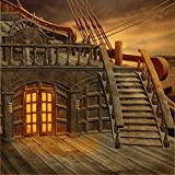 Stage Photography Backdrop Pirate Ship Scenery with Stairs Wooden Window and Floor Vintage Background for Photo Studio Children Booth Shoot Prop 10x10 ft