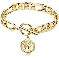 CLASSYZINT Gold Chain Cuban Link Bracelet for Men Women, Coin Pendant Anklet, Paperclip Oval Chain Bracelet Gold Plated