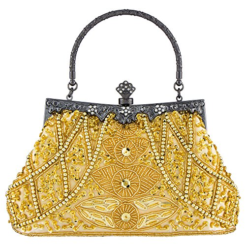 Women's Bag And Gold Handbag Beaded Style Bagood Clutch Purse Sequined Vintage Wedding Party Evening pnqw11dgF