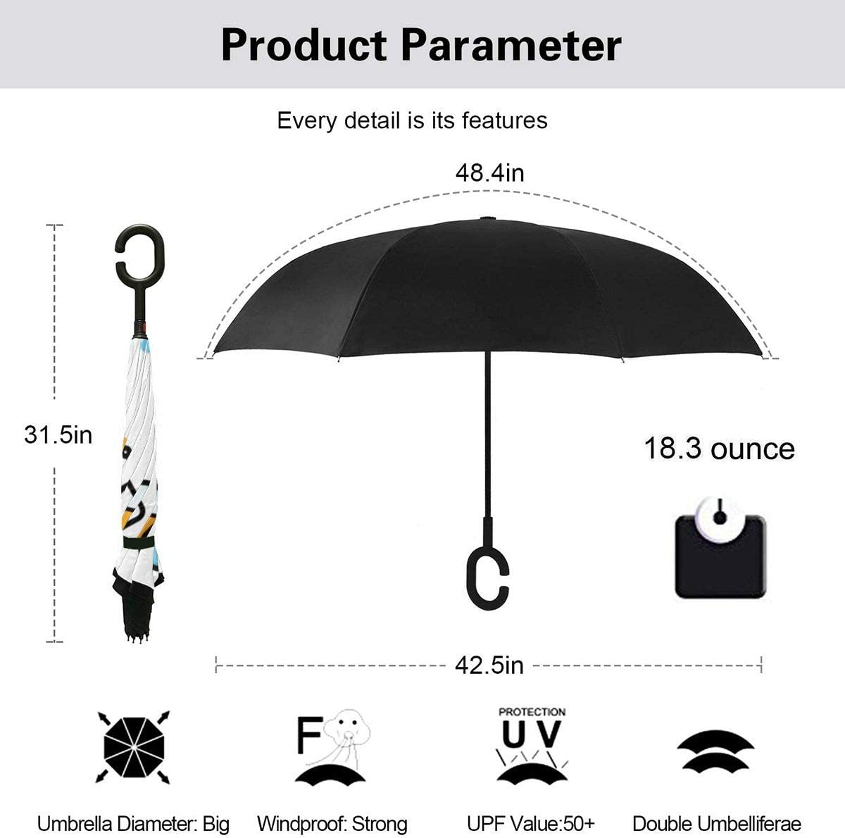 PYFXSALA Doodle Medical Pattern Windproof Inverted Umbrella Double Layer UV Protection Folding Reverse Umbrella for Car Rain Outdoor Self Stand Upside Down with C-Shaped Handle