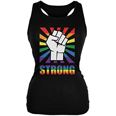 b8dc4886912a0 Old Glory LGBT Gay Pride Strong Raised Fist Black Juniors Soft Tank Top -  Small