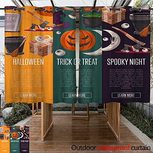 RenteriaDecor Outdoor Curtains for Patio Sheer Halloween Party Cartoon Flyers Set W63 x L72
