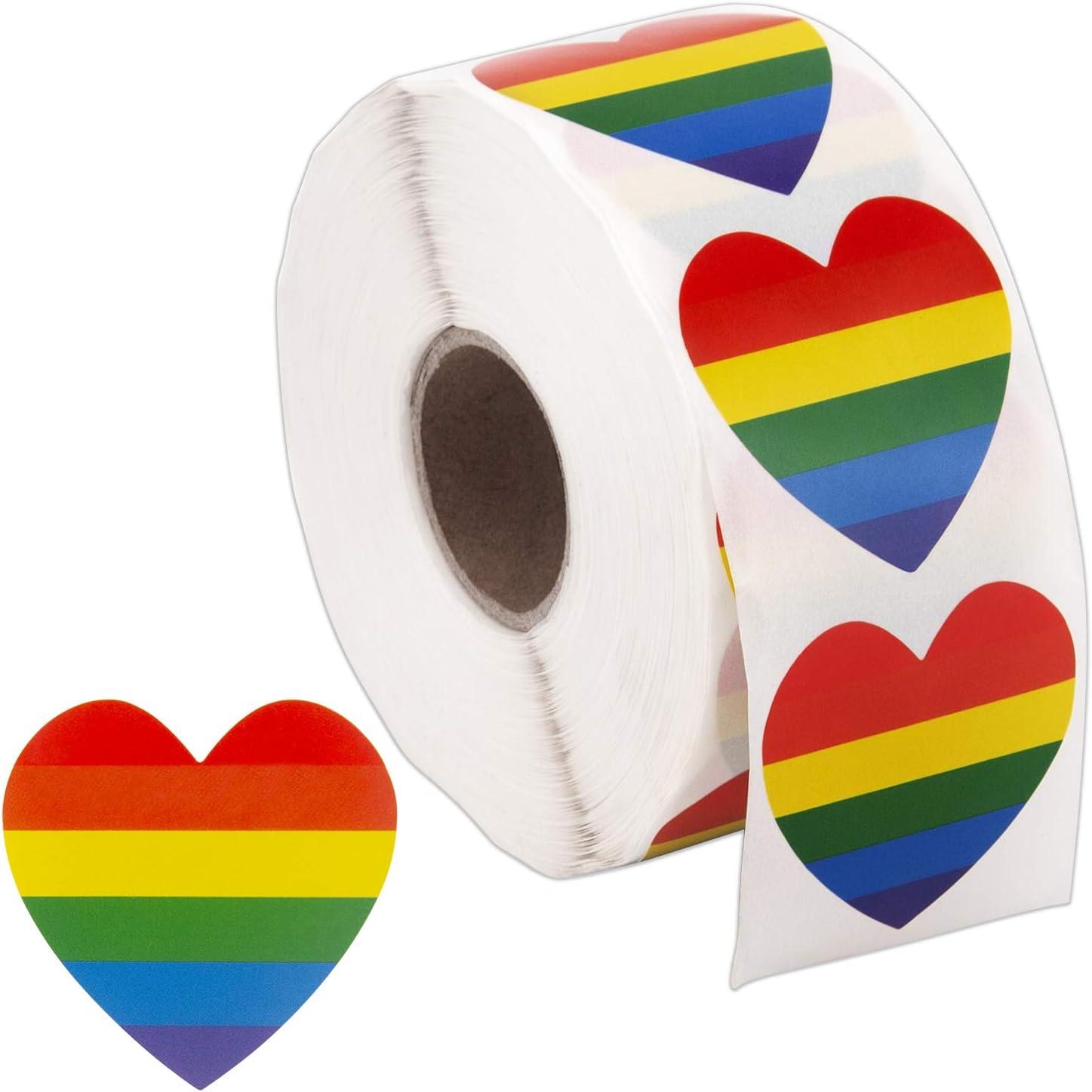 SAVITA 1000 Piezas Pegatinas de Orgullo Gay Amor en forma de corazón Pegatinas de arco iris Pegatinas de rayas en rollo