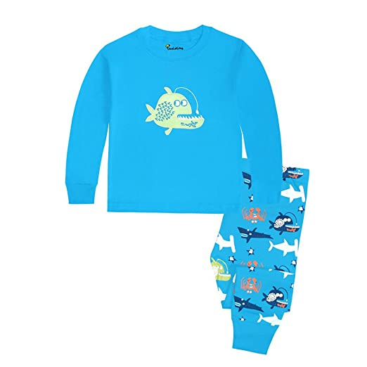 f9da01926 Amazon.com  Cczmfeas Boys Pajamas Fish Kids Pjs Sets Cotton Toddler ...