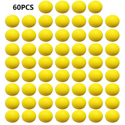 Golf Training Balls - Practice Golf Balls,Smartlife15 Foam Sponge Soft Elastic Golf Balls, Indoor Outdoor Golf Training Aid Balls (Yellow,60pcs)