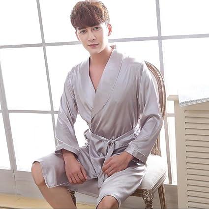 Albornoces Hombres unisex pareja Kimono largo albornoz satinado seda suave robe color sólido bata de casa ...
