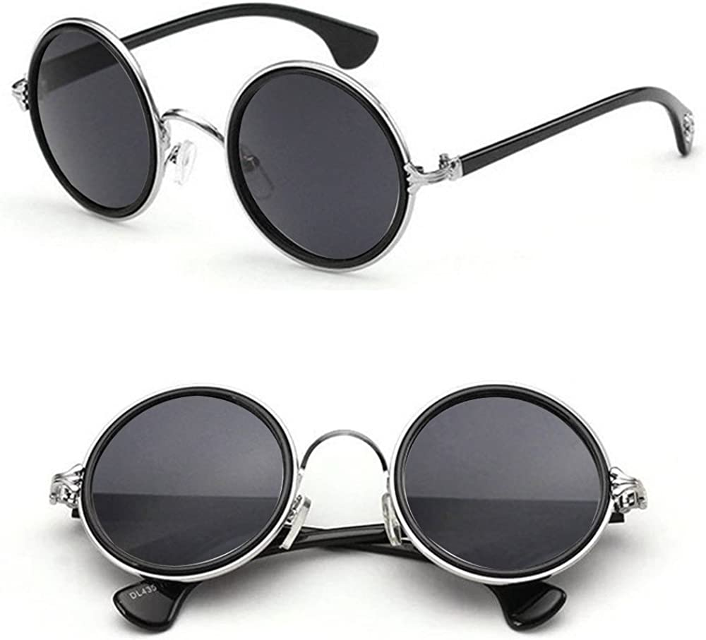 Shoze Retro Round Sunglasses Unisex Vintage Polarized Metal Frame Small Circle Hippy Glasses Temperament Personality Travel Sunglasses For Women Men