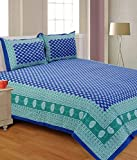 UniqChoice Jaipuri Print 100% Cotton Rajasthani Tradition King Size Double Bedsheet With 2 Pillow Cover(Blue Color)