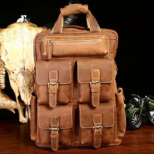 LQT-Zaino da escursionismo, Borsa da viaggio, borsa in vera pelle con tasche esterne e interne non Multifonctio, colore: marrone