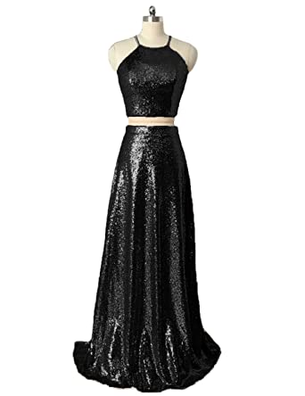 PLMS Womens Prom Dress Two Piece Halter A- Line Evening Dress Long Party Gown Black
