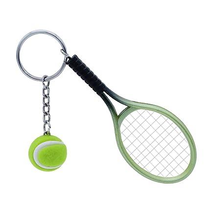 TOYMYTOY Llavero de las raquetas de tenis, llavero verde del deporte de la novedad, regalos pendientes de la mini pelota de tenis