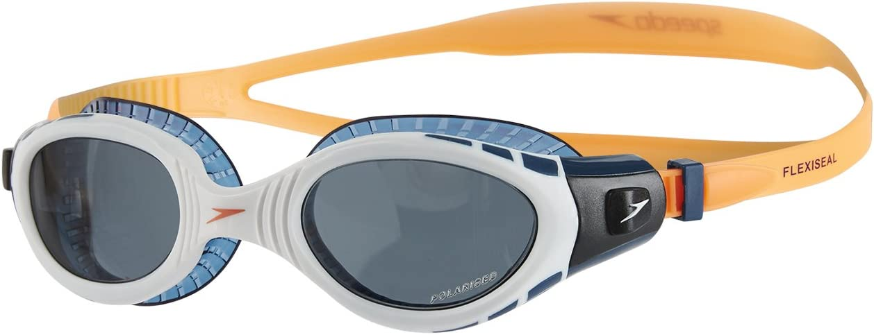 Speedo Futura Biofuse Flexiseal Triathlon Gafas de Natación, Unisex Adulto, Naranja Fluorescente/Blanco/Humo, Talla Única