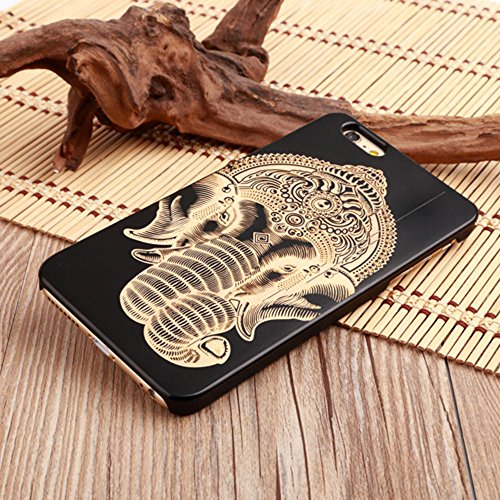 OTOOLWORLD Carvings Pattern Design Creative and Natural Black Wood Bamboo Phone Protective Case Cover For Apple iPhone 7Plus (elephant) - Carving Natural