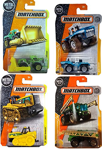 Construction Vehicles Matchbox Set 4-Pack Farm Tractor Seed Shaker & Mound Mover Shovel Loader / Rain Maker & Acre Maker in PROTECTIVE (Mbx Mover)