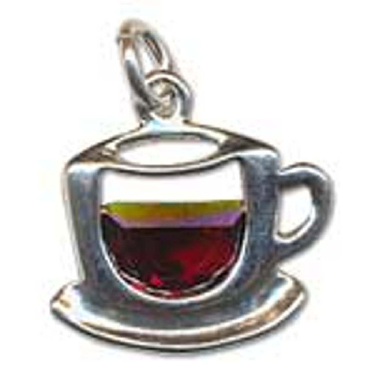 Sterling Silver Girls .8mm Box Chain Tea Or Coffee Cup Pendant Necklace