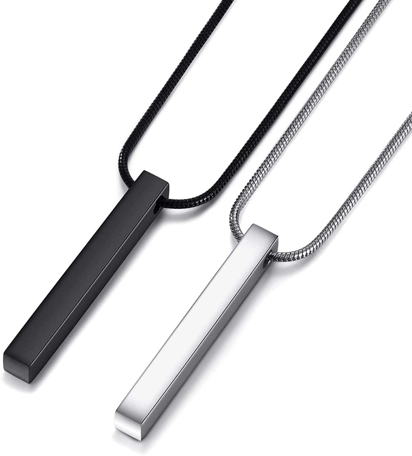 MOO&LEE Stainless Steel Bar Pendant Necklace for Men and Women|,| Couples Necklaces 22 Inches Snake Chain|,| Unisex