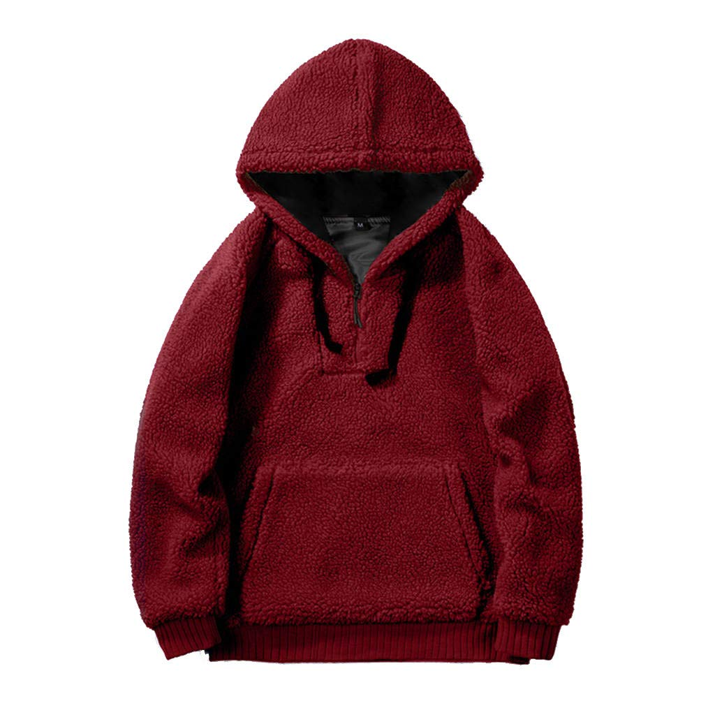 Garish Autumn Winter Couple Fashion Faux Fur Comfy Hooded Sweatshirt Coat Casual Pure Plush Zipper Pullover Jacket Red by Garish