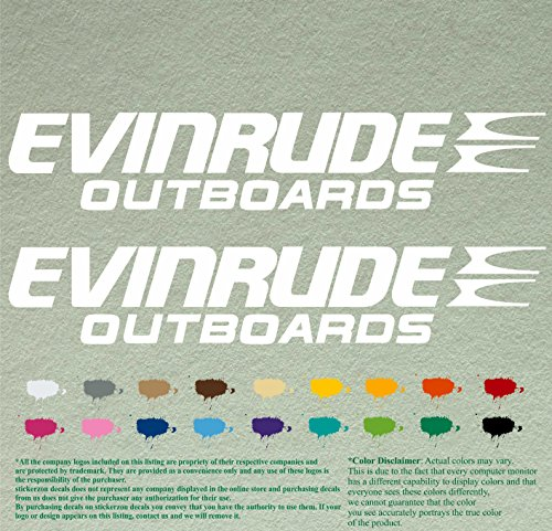 Pair of Evinrude Outboards Decals Vinyl Stickers Boat Outboard Motor Lot of 2 (24 inch, White 010)