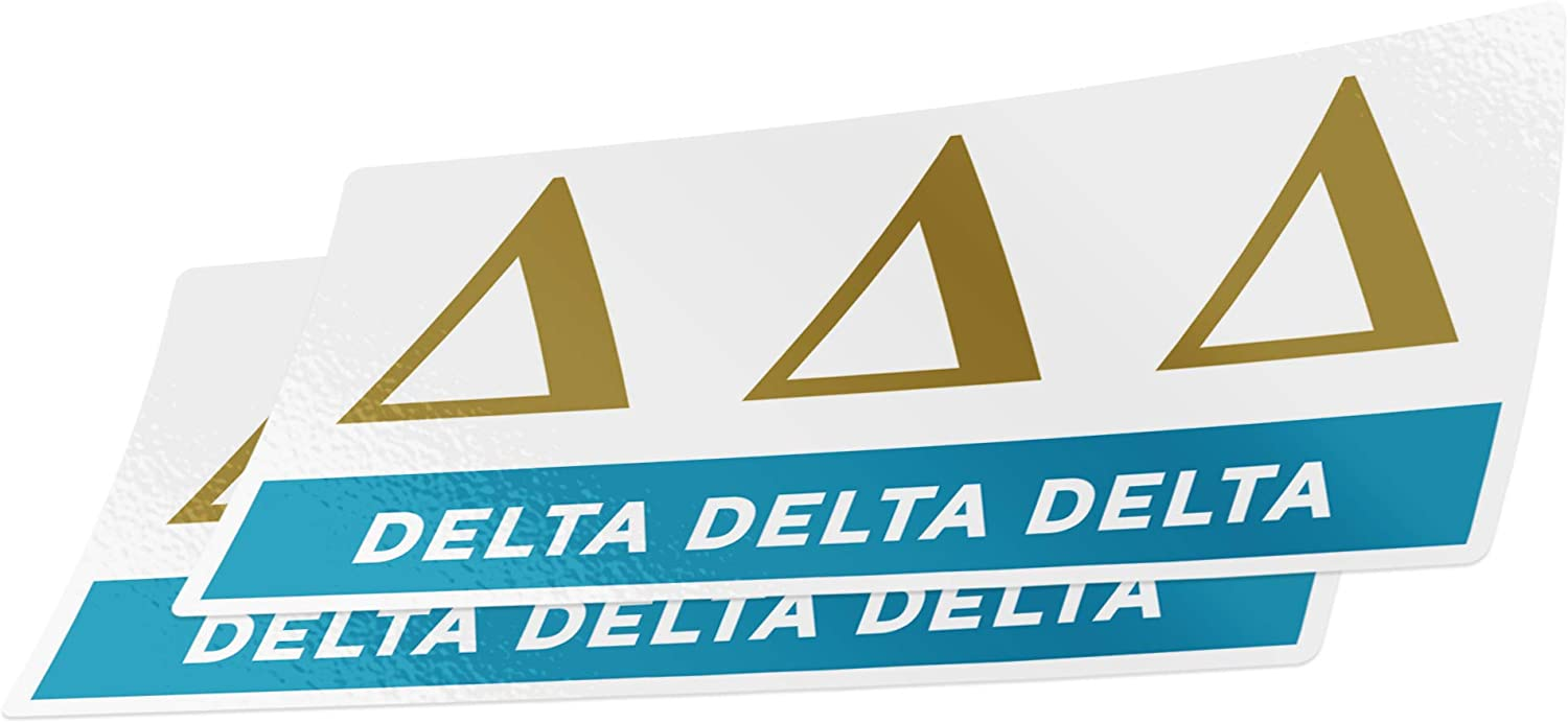 Delta Delta Delta 2-Pack Decal Greek for Window Laptop Computer Car tri Delta (Color/Letter Name Sticker)