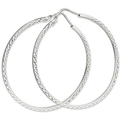 Schmuck-Pur 925/- Sterling-Silber Ohrringe Draht-Creolen diamantiert ...