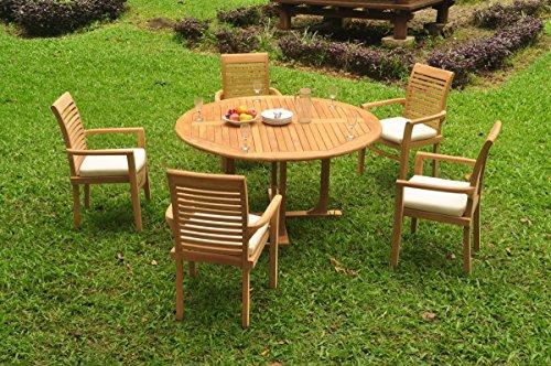 (TeakStation 5 Seater Grade-A Teak Wood 6 Pc Dining Set: 60