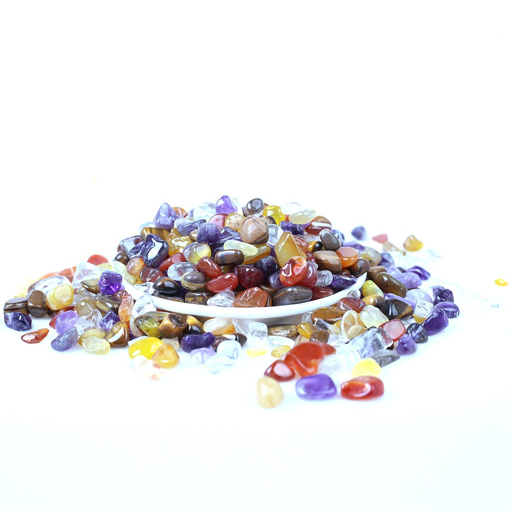 Yujianni 1lb Bulk Crystal Tumbled Stones-Gifts for Kids,Boys,Girls,Teens and Adults- Polished Natural Gemstone Red Agate,Yellow Agate,Clear Crystal,Tiger's Eye,Amethyst (C)