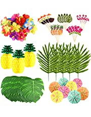 FEPITO 123 Pcs 7 Kinds Tropical Hawaiian Party Decorations Set Luau Party Supplies Decor Tropical Leaves Flowers, Tissue Paper Pineapples, Cupcake Toppers, Paper Umbrella Picks for Party Decorations