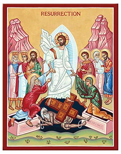 Monastery Icons Resurrection (Anastasis or Descent into Hades) Mounted Plaque Icon Reproduction 7.8