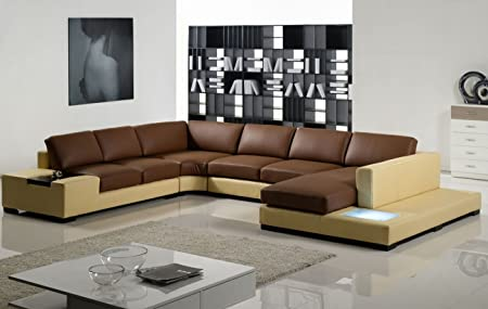 Remarkable Modern Leather Sectional Sofa With Built In Light Amazon Co Evergreenethics Interior Chair Design Evergreenethicsorg