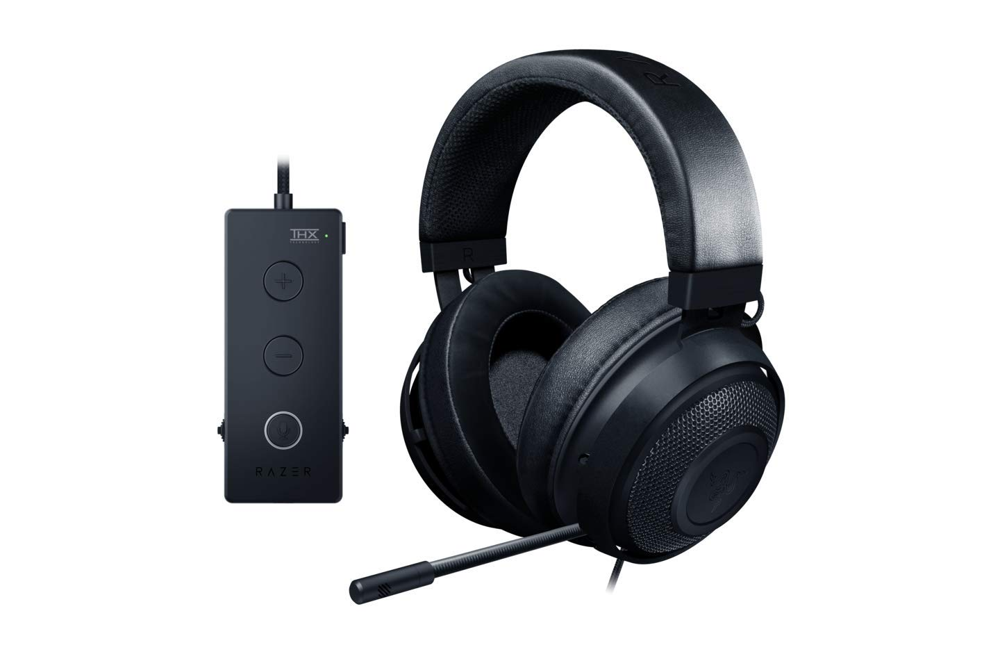 Razer Kraken Tournament Edition THX 7.1 Surround Sound Gaming Headset: Aluminum Frame - Retractable Noise Cancelling Mic - USB DAC Included - For PC, Xbox, PS4, Nintendo Switch - Matte Black