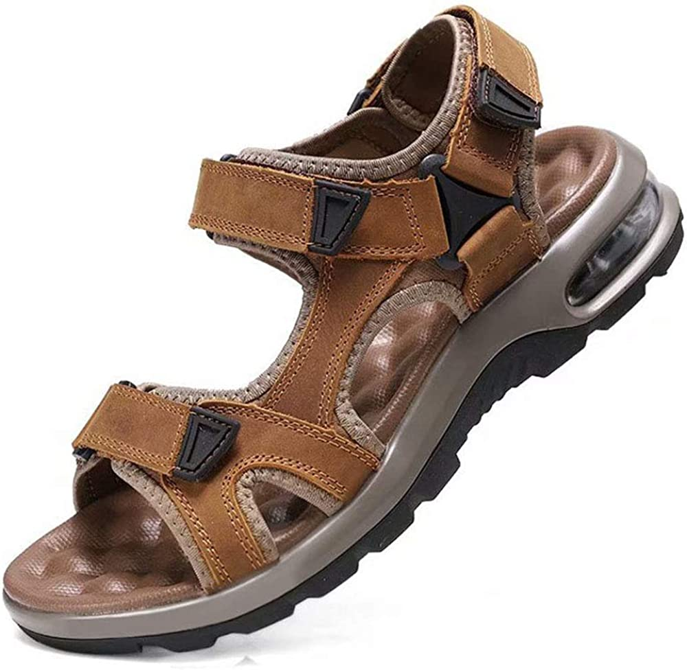 Mens Faux Leather Sandals Elastic Light Weight Walking Hiking Beach Shoes Size