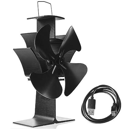 COSTWAY Ventilador de Chimenea con 4 Hojas USB Cable Fan sin Humo para Estufa de Leña