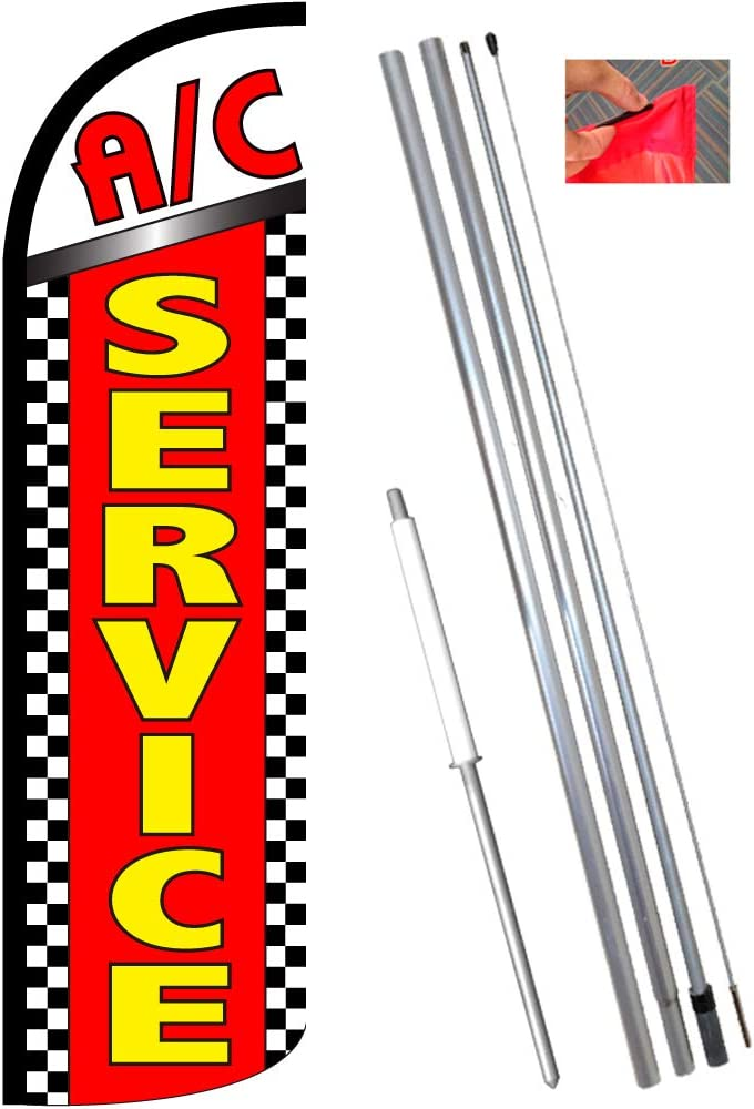Dmv Services Flutter Feather Flag Kit Bundle Flag, Pole, /& Ground Mount