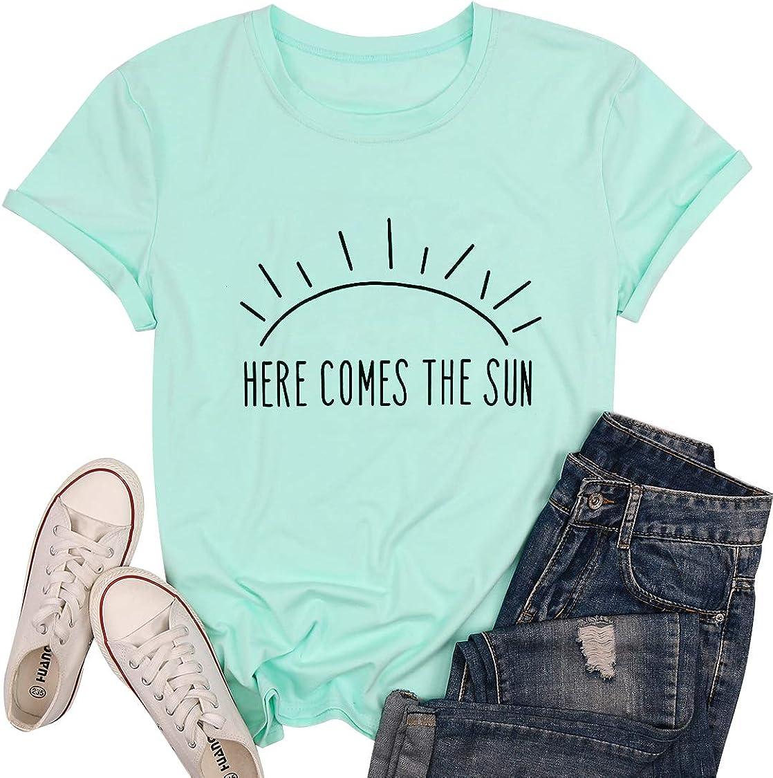 Sunshine Shirt Top Women Summer Short Sleeve Graphic Print T Shirt Nature Shirt Vacation Shirt White Blouse