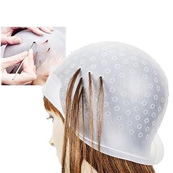 Frcolor Hervorhebung Silikon Cap, wiederverwendbare Salon Dye Silikon Cap  mit Haken zum Färben von Highlighting Hair