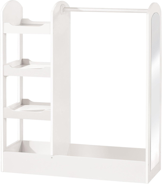 Guardaropa roba, armario infantfil de pie, armario, riel colgador y espejo; fabricado en madera lacada en blanco, guardaropa vertical para niños
