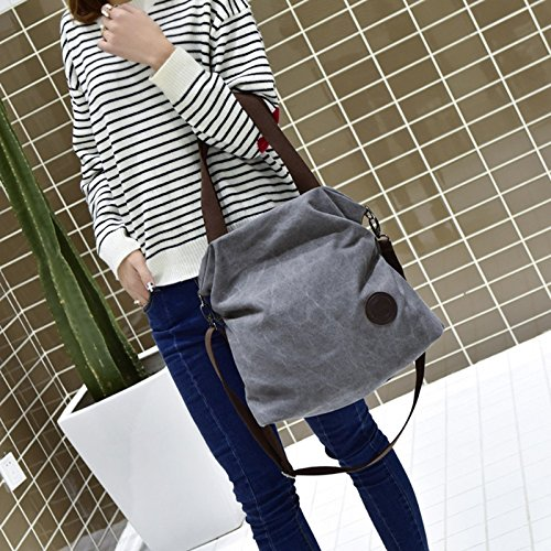 Bag Tote Messenger JAGENIE Women Gray Canvas Blue Fashion Large Purse Crossbody Handbag Shoulder wXq0gFxqz