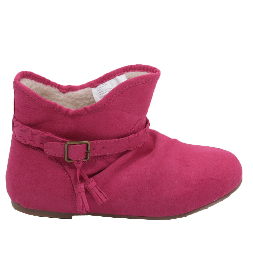 L'Amour Little Girls Fuchsia Suede Faux Lining Buckle Ankle Boots 11 Kids