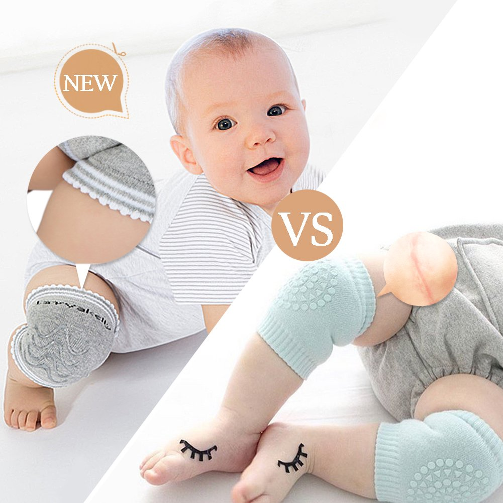 Onshine Baby Kneepads for Crawling Anti-Slip Breathable Infants Crawling Knee Pads 5 Pairs OS-1201