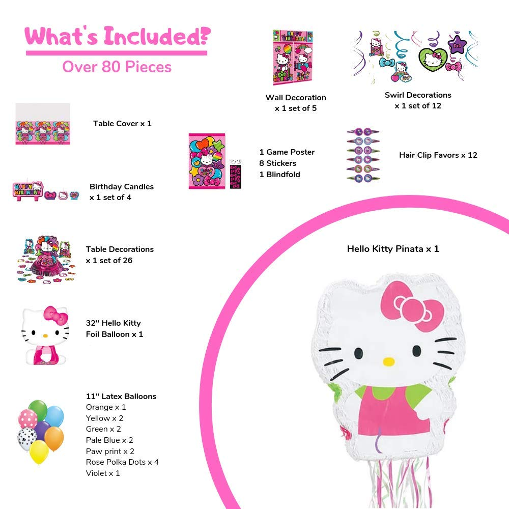 Birthday Party Set :: Ya Otta Hello Kitty Pinata bundled with Hello Kitty Party Supplies and an eBook on Kids Birthday Party Games by Ya Otta Pinata (Image #2)