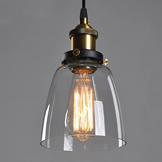 Transparent glass shade ceiling chandelier fitting edison vintage transparent glass shade ceiling chandelier fitting edison vintage retro pendant lamp bulb light shadee27 aloadofball Images
