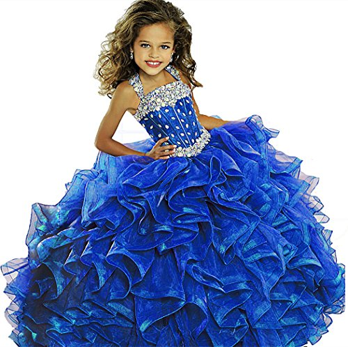 Y&C Girls Halter Chest Full Crystal Ball Gown Floor Length Pageant Dresses 12 US Royal Blue ()