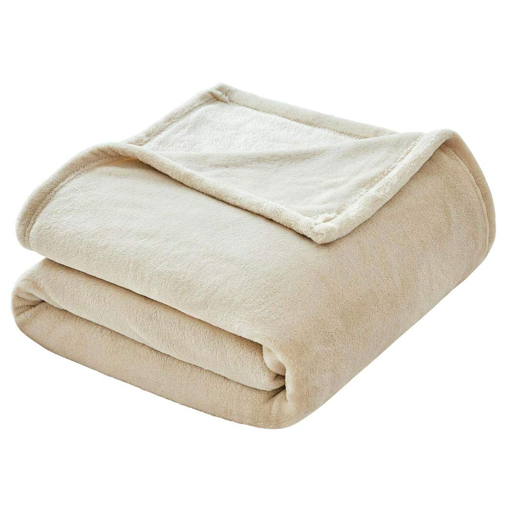 VEEYOO Flannel Fleece Blanket - All Seasons Lightweight Luxury Plush Microfiber Blankets for Bed or Couch, Twin Size, Ivory