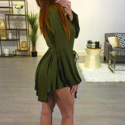 NewKelly Women Fashion Deep-V Dress Slim Long Sleeve Pullover Party Eveving Dress at Amazon Womens Clothing store: