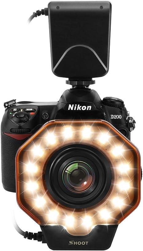 Shoot - Anillo de luz LED Universal para cámaras Canon Nikon Sony ...