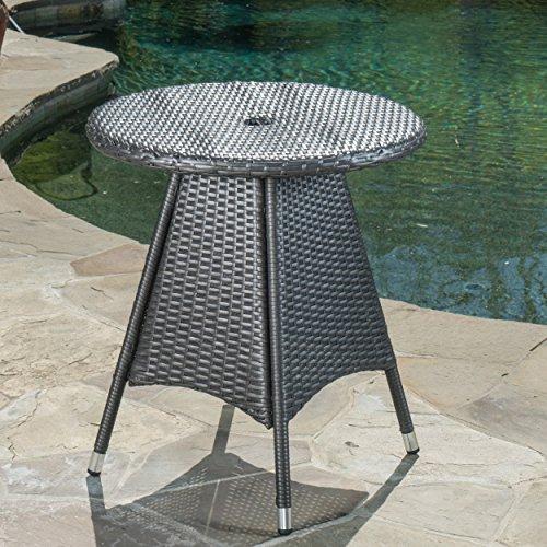 Colonial Outdoor Grey Wicker Round Bistro Table by GDF Studio